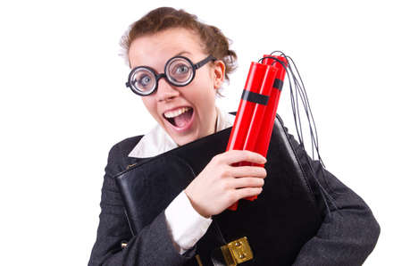 Businesswoman with dynamite on white Stock Photo - 19323611