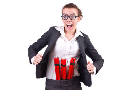 Businesswoman with dynamite on white Stock Photo - 19323436