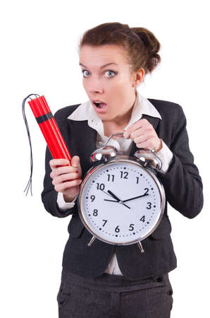 Businesswoman with dynamite and clock photo