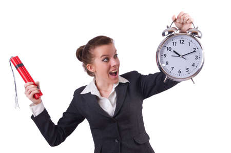 Businesswoman with dynamite and clock Stock Photo - 19323432