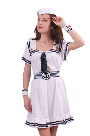 Woman sailor in marine concept photo