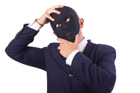Man with mask isolated on white Stock Photo - 19323586