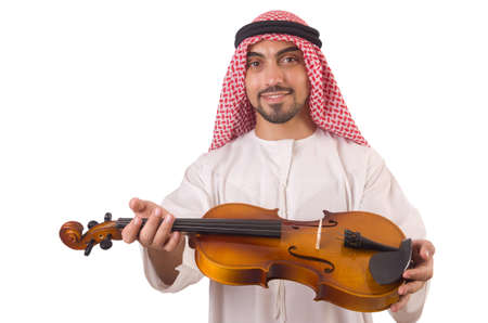 Arab man playing music on white Stock Photo - 19323386