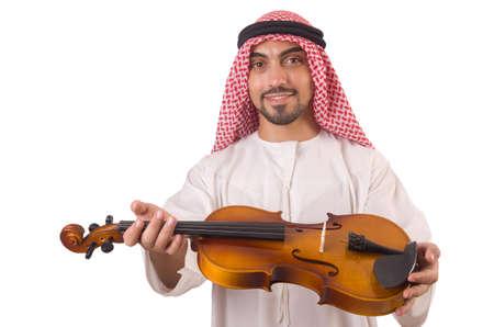 Arab man playing music on white Stock Photo - 19323386