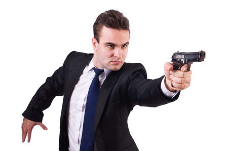 one armed: Businessman with gun isolated on white