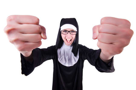 Funny nun isolated on the white background Stock Photo - 19511709