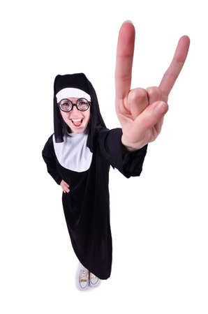 Funny nun isolated on the white background Stock Photo - 19511571