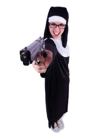 Nun with gun isolated on the white Stock Photo - 19526138