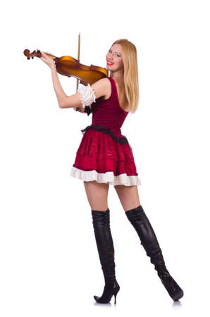 Girl playing violin on white Stock Photo - 19323011