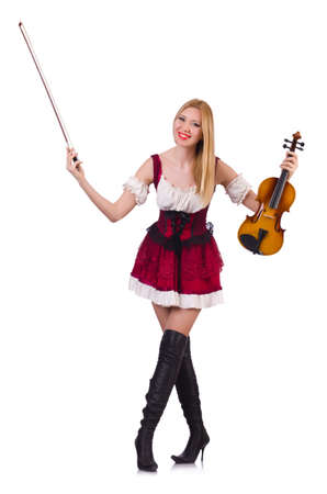Girl playing violin on white Stock Photo - 19322991