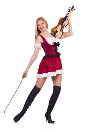 Girl playing violin on white Stock Photo - 19323153