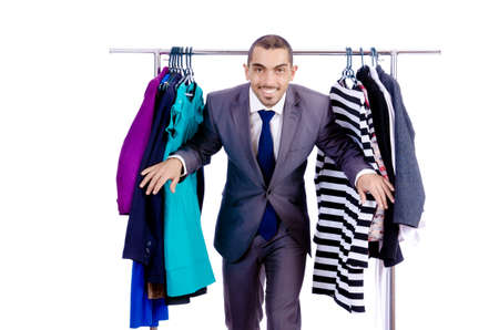 Businessman with rack of clothing Stock Photo - 19323624