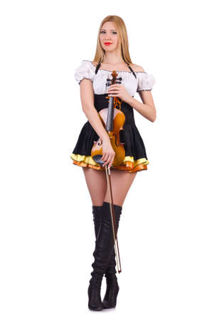 Girl playing violin on white Stock Photo - 19323025