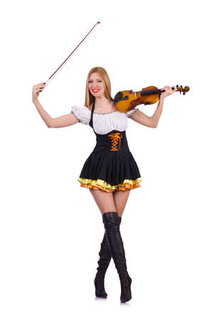 Girl playing violin on white Stock Photo