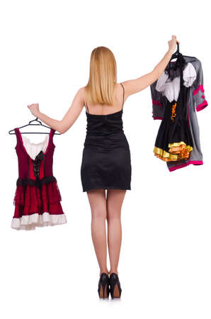 Woman with clothing on hangers photo