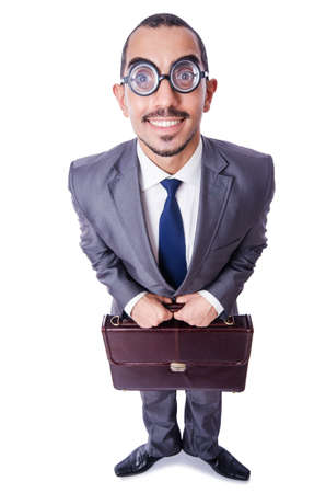 Funny nerd businessman isolated on white Stock Photo - 19511832