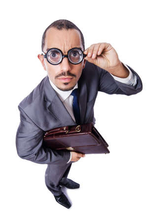Funny nerd businessman isolated on white Stock Photo - 19467531