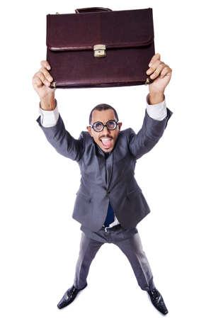 Funny nerd businessman isolated on white Stock Photo - 19482126
