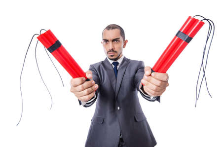 Businessman with dynamite isolated on white Stock Photo - 19482096