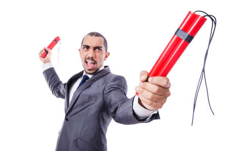 Businessman with dynamite isolated on white Stock Photo - 19482095