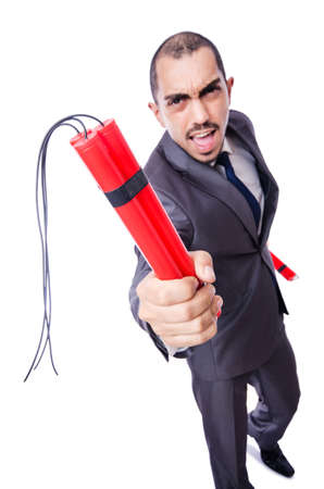 Businessman with dynamite isolated on white Stock Photo - 19482100