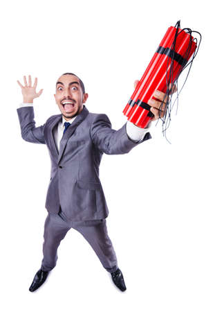 Businessman with dynamite isolated on white Stock Photo - 19482097