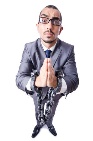 Businessman with handcuffs on white Stock Photo - 19482125