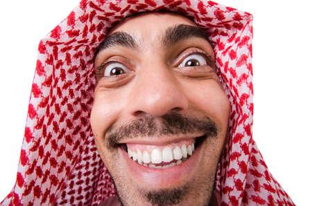 thoub: Funny arab man isolated on white Stock Photo