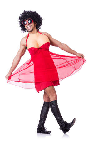 travesty: Man dressing in woman dress