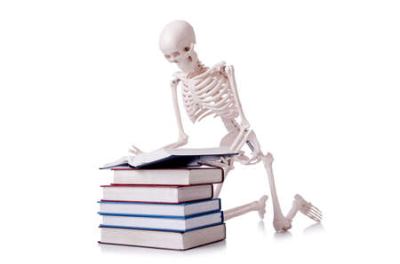 Skeleton reading books on white Stock Photo - 19253164
