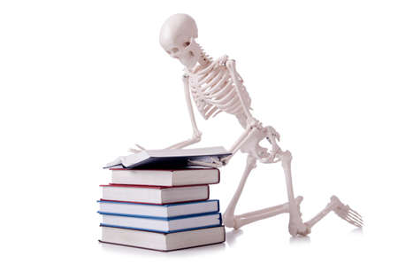 Skeleton reading books on white Stock Photo - 19253192