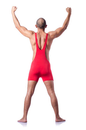 Young wrestler isolated on the white Stock Photo - 19253364