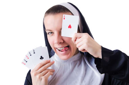 Nun in the gambling concept Stock Photo - 19467519
