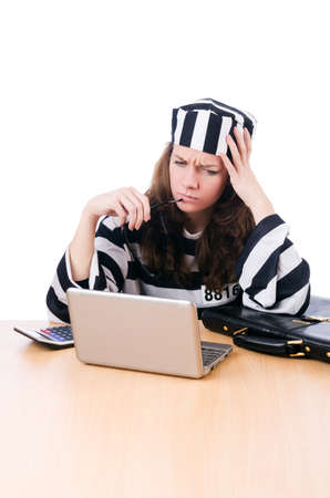 Criminal hacker with laptop on white Stock Photo