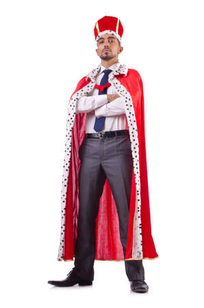 king crown: Businessman playing king isolated on white