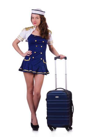 airhostess: Airhostess with luggage on white Stock Photo