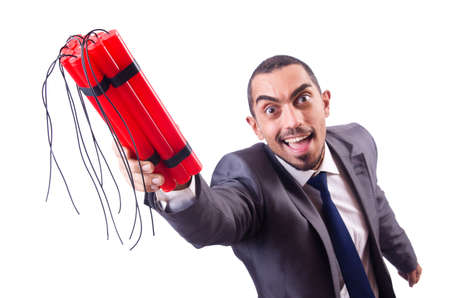 Businessman with dynamite isolated on white Stock Photo - 19526265
