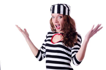 Convict criminal in striped uniform Stock Photo - 19526268