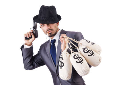 Businessman criminal with sacks of money photo