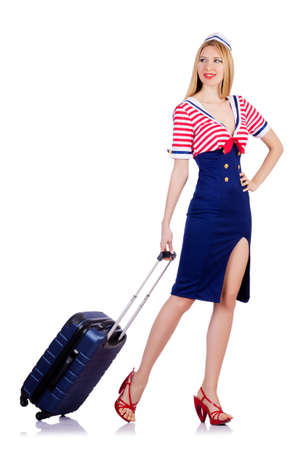 Woman travel attendant with suitcase on white Stock Photo - 19492586