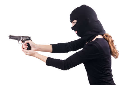 Criminal with gun isolated on white Stock Photo - 19492645