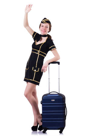Woman travel attendant with suitcase on white Stock Photo - 19492555