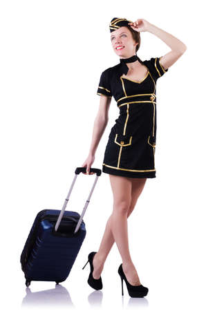 Woman travel attendant with suitcase on white Stock Photo - 19498723