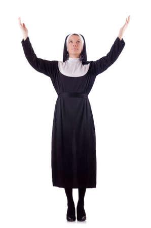 black nun: Nun isolated on the white