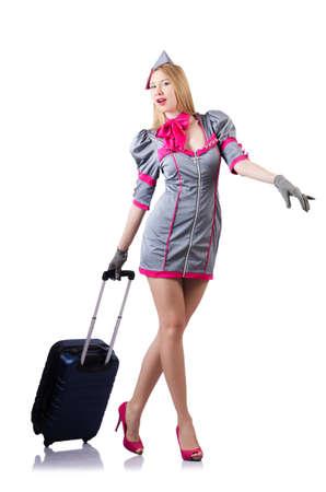 Airhostess with luggage on white Stock Photo - 19642585