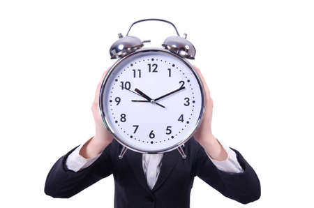 Funny woman with clock on white Stock Photo - 19324656