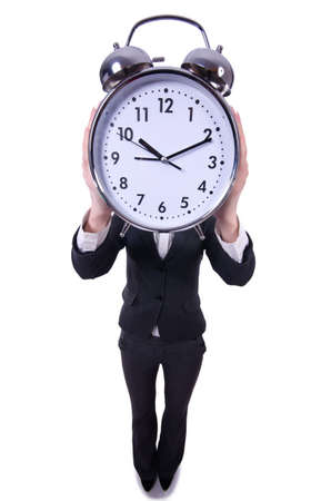 Funny woman with clock on white Stock Photo - 19324637