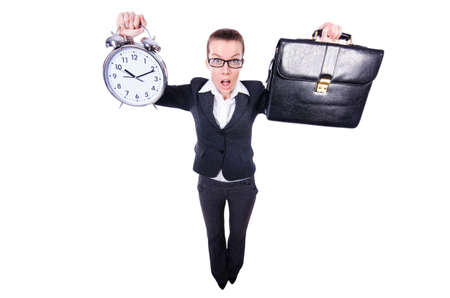 Funny woman with clock on white Stock Photo - 19492633