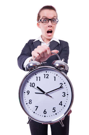 Funny woman with clock on white Stock Photo - 19492750