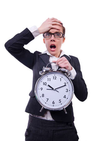 Funny woman with clock on white Stock Photo - 19492962